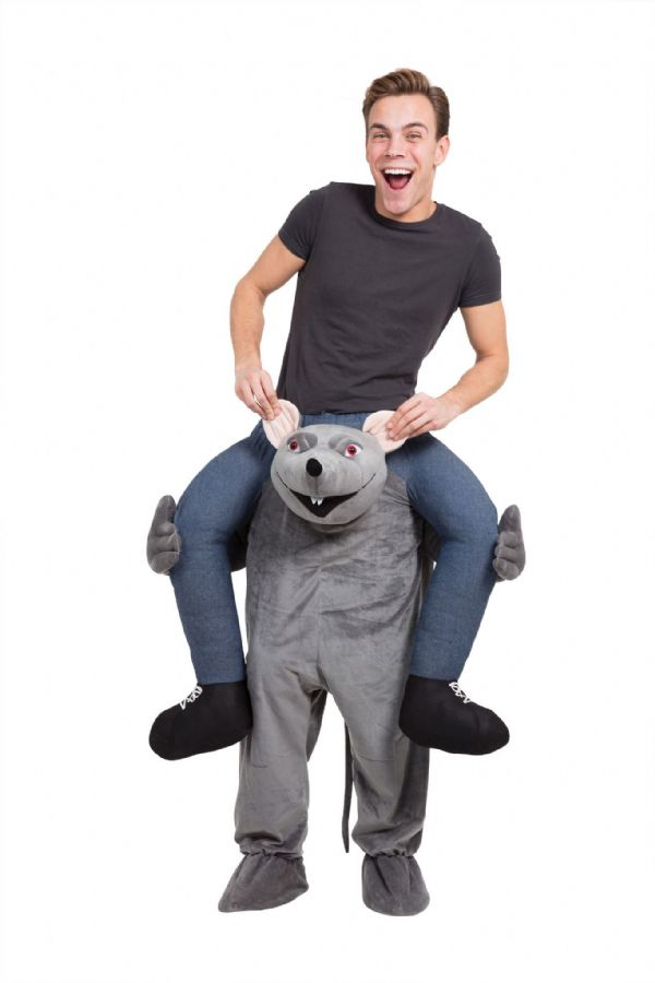 Adults Rat Piggy Back Costume Rodent Mouse Fancy Dress Outfit